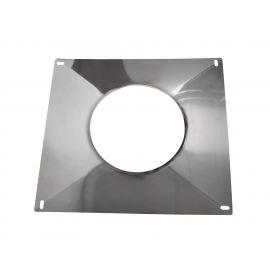 Plaque d'étanchéité avec bord relevé 350*350 mm diam 125 pour tubage flexible poêle à pellets