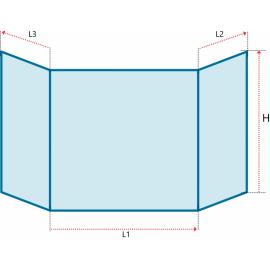 Verre vitrocéramique prismatique pour insert et poele à bois de la marque CAMINOS - Status - Ref PCV-77+395-P7