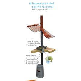 Système plain pied plafond horizontal poêle à pellets double paroi isolé