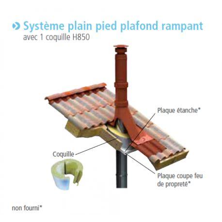 Système plain pied plafond rampant poêle pellets concentrique