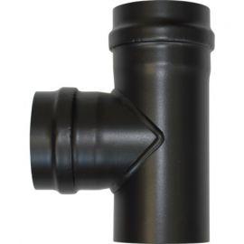 Té 90° fermé en bas diamètre 80 avec 2 trappes de visite et sortie femelle diamètre 80 conduit simple paroi acier 1.2 mm