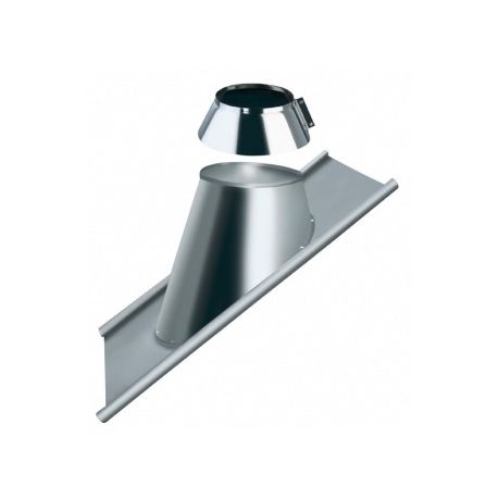 Solin pour toit tuile pente 30 à 45° tubage conduit double paroi avec collet