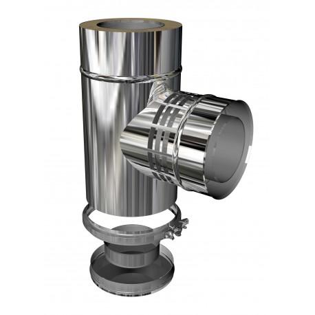 Té 90° DP isolé avec prise d'air + Tampon pour concentrique diamètre 80/125