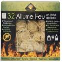 Allume feu en laine de bois FSC inodore, pour cheminée et barbecue