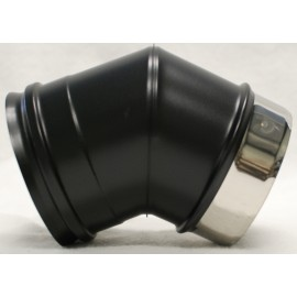 Coude 45° concentrique inox noir mat