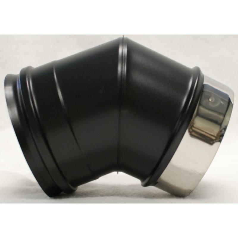 Coude 45 inox noir mat raccordement conduit concentrique for Conduit de poele a granule