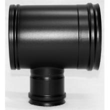 Té 90° dn100 inox noir mat piquage femelle réduit  SP dn080 avec tampon recueil des cendres