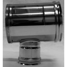 Té 90° dn100 inox piquage femelle réduit  SP dn080 avec tampon recueil des cendres