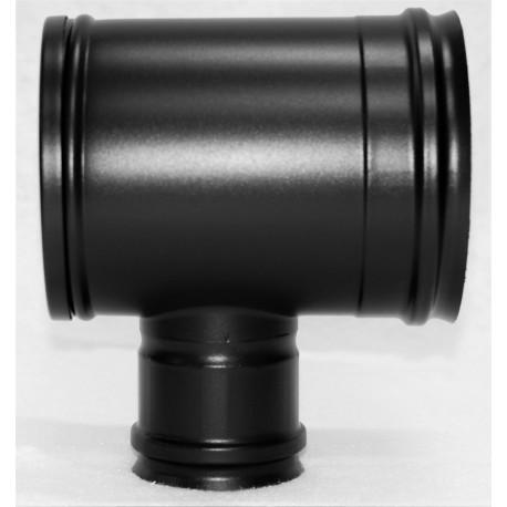 Té 90° inox noir mat piquage femelle SP avec tampon recueil des cendres