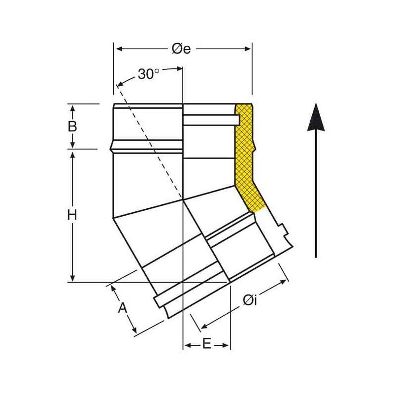 coude 30 inox pour tubage de conduit double paroi isol. Black Bedroom Furniture Sets. Home Design Ideas