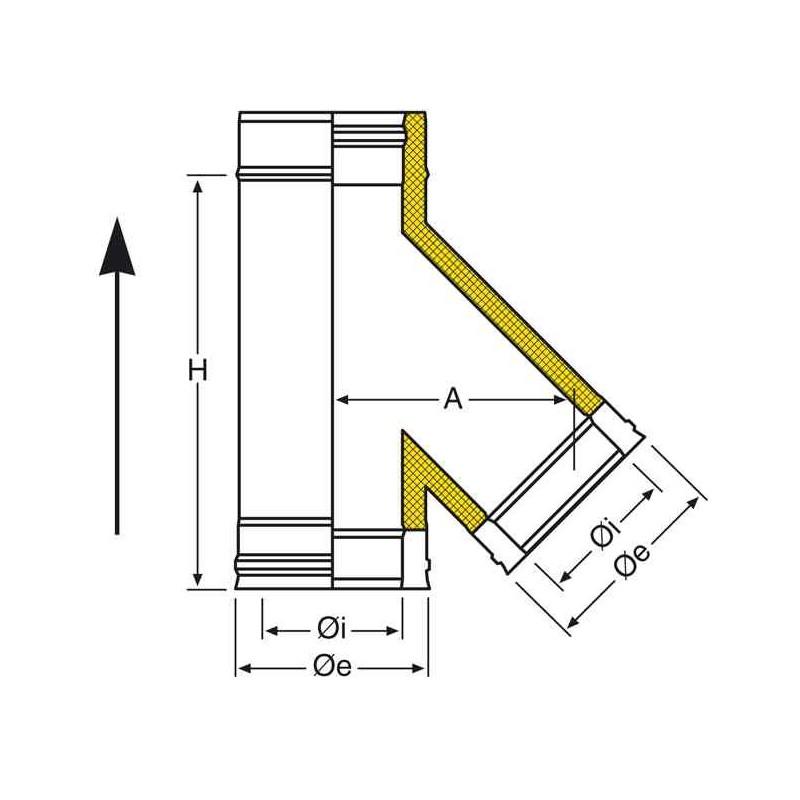 t 135 inox pour raccordement tubage conduit double. Black Bedroom Furniture Sets. Home Design Ideas